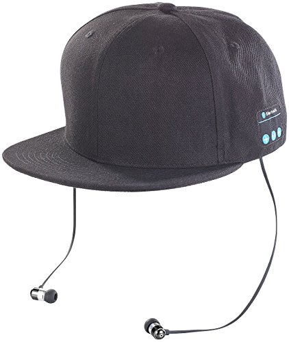 Callstel Caps: Snapback-Cap mit integriertem Headset, Bluetooth 4.1, schwarz (Baseball Cap)