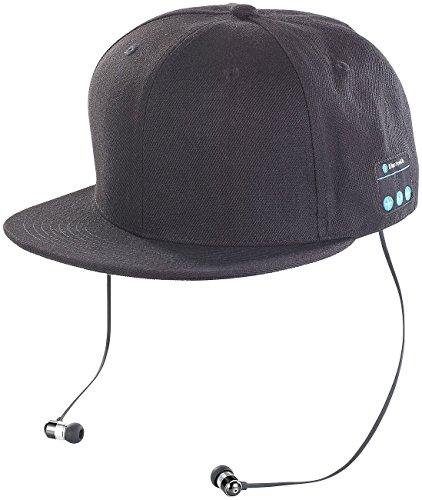 Callstel Caps: Snapback-Cap mit integriertem Headset, Bluetooth 4.1, schwarz (Kopfhörer und Mikrofon Mütze)