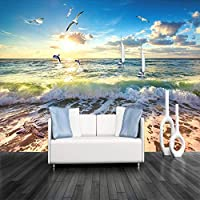 mzznz Wallpaper 3D Stereoscopic Embossed Beach Sea Wave Large Mural Living Room Restaurant Cafe Poster Decor Wall Paper
