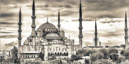 Posterlounge Acrylglasbild 80 x 40 cm: Blaue Moschee in Sepia von Editors Choice - Wandbild, Acryl Glasbild, Druck auf Acryl Glas Bild