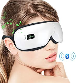 Eye Massager with Air Pressure, Wireless Bluetooth Music, Vibration Intelligent Eye Massager with Heat Compression Therapy, Rechargeable Foldable Temple Massager for Headaches, Dry Eyes,Stress Relief