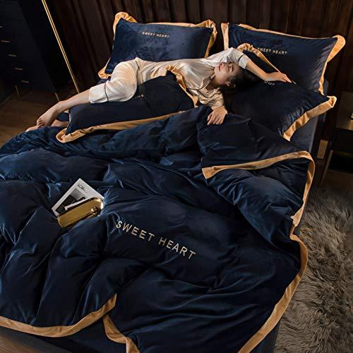 RESUXI Teddybär Bettwäsche Single, Coral Samt vierteilige Flanell doppelseitige Net rot Bettlaken Bett Nordic Wind Bett Samt Fale Winter
