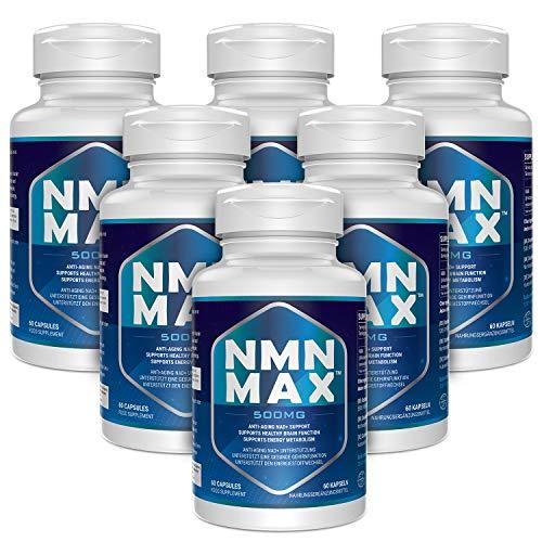 6 Bottles NMN Capsules - 500mg Capsule - Maximum Strength Nicotinamide Mononucleotide Supplement- Improves Energy, Focus & Clarity