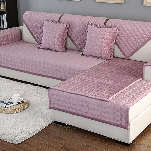 Ginsenget Funda sofá de Esquina Decoración Extensible Habitación Todas Las Estaciones,Cojín de sofá Grueso de Invierno,Polvo de Cuero,70X180cm