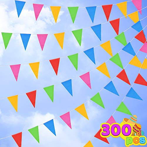 300 Pennant Flags 375ft 5 Colors Nylon Banner for Grand Opening, Carnivals Party and Shop Celebrations, Fiesta Party Supplies, Luau Event, Mexican Festivals.