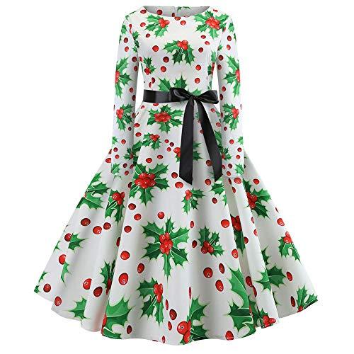 Longra Weihnachtskleid Damen Langarm Retro Kleider Vintage A-Line Baumwolle Swing Kleid mit Weihnachtsbaum Muster Rockabilly Kleid Evening Partykleid Cocktailkleid Festlich Kleid (M, C)