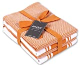 AMOUR INFINI Classic Kitchen Towels | 2 Stripe + 2 Waffle | 28 x 20 Inch, Over Sized | Multi-use Dish Towels |100% Ring Spun Premium Cotton | Highly Absorbent | Orange