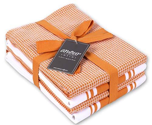 Amour Infini Classic Küchentücher   2 Streifen + 2 Waffeln   50 x 70 cm, übergroß   Mehrzweck-Geschirrtücher   100% ringgesponnene Premium-Baumwolle   Sehr saugfähig   Orange