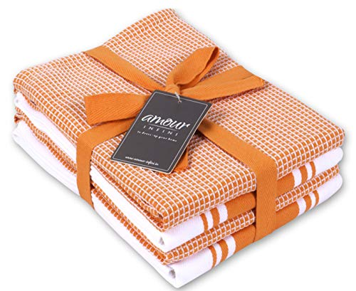 AMOUR INFINI Kitchen Tea Towel Classic Vintage Stripe, Waffle Weave Kitchen Towels Set of 4, 50 x 70 cm Multi-use Dish Towels Hanging Loop Ring Spun Premium Cotton Highly Absorbent Bar Towels | Orange