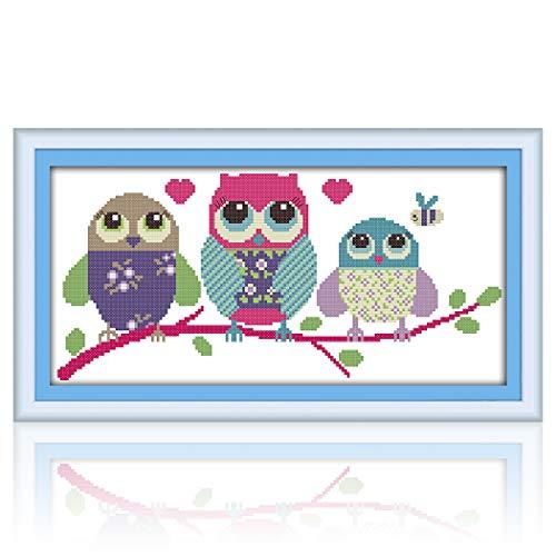 MWOOT DIY Ricamo Punto Croce Set,11CT Principianti Cucito a Mano Cross Stitch Embroidery Starter Kit per Decorazione Domestica(48x24cm) -Gufo