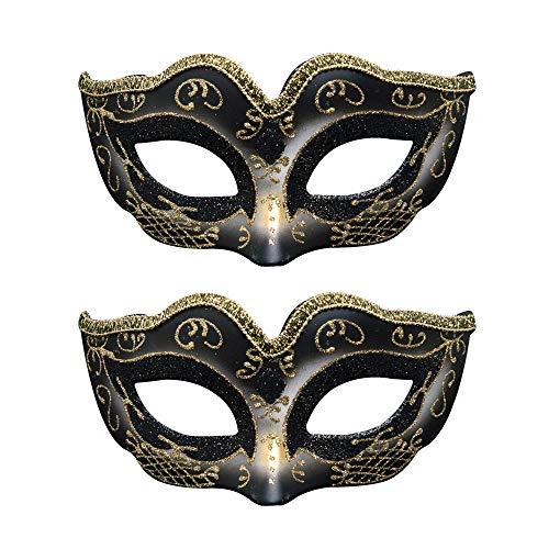 BLEVET 2PCS Carnaval Máscara Veneciana para Halloween Mardi Gras Ball Party Cosplay para Mujeres MZ110 (Black)
