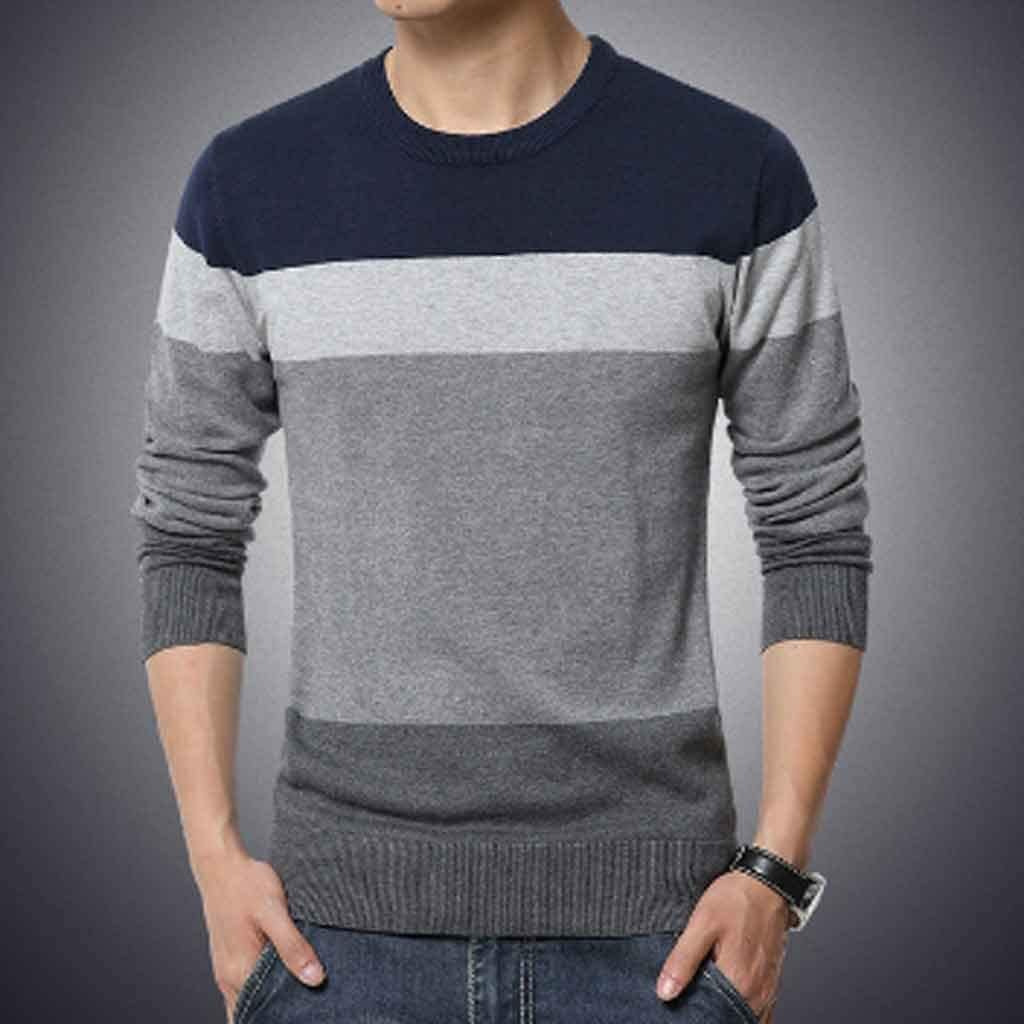ZYING Autumn Casual Men's Sweater Collar Striped Slim-fit Sweater Men's Sweater Pullover Pullover Pullover Men's Pull (Size : XL Code)