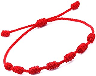 HUELLAS Bracelet 7 Knots for Protection, Evil Eye and Good Luck. Buddisth String. Thread/Amulet for Prosperity and Success. Talisman for Womens, Mens, Girls, Boys. Cord Adjustable.