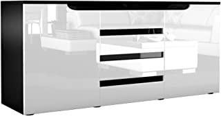 Vladon Buffet Dressoir Sylt, Corps En Noir Mat/Façades En Blanc Haute  Brillance Un