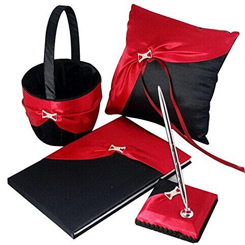 VALINK 4pcs/Set Wedding Decoration Accessories Satin Wedding Ring Pillow+ Flower Girls Basket+Guest Book+Pen Holder Set for Bride Bridegroom Wedding Party Supplies - Black&Red