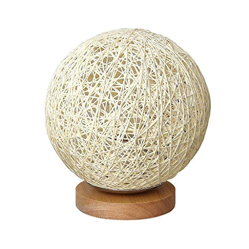 Table lamp Solid Wood Table Lamp Rattan Ball Round Lampshade Desk Lamp Romantic Bedside Lamp Sweet Dream Lamp Beige Modern Hemp Ball Night Light 15cm/5.9'
