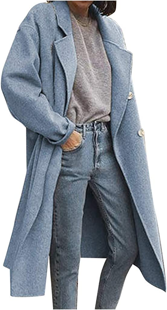 CANAFA Women's Long Wool Coat Elegant Blend Coats Slim Double Breast Long Coat Outerwear Jacket