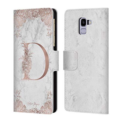 Officiële Nature Magick Letter D Rose Gold Marmer Monogram Lederen Book Portemonnee Cover Compatibel voor Samsung Galaxy J6 / On6 (2018)