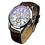 Yazole Unisex Blue-ray, esfera de color blanco de banda de acero inoxidable reloj de pulsera reloj analógico de cuarzo–marrón