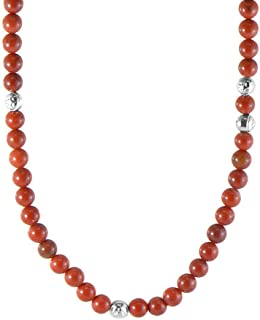 Inti coral Moon and sun pendant silver necklace with red coral beads