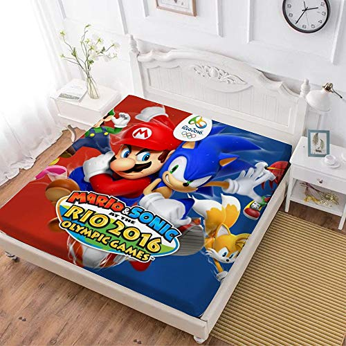 Fitted Sheet,Super Mario (22),Soft Wrinkle Resistant Microfiber Bedding Set,with All-Round Elastic Deep Pocket, Bed Cover for Kids & Adults,full (59x80 inch)