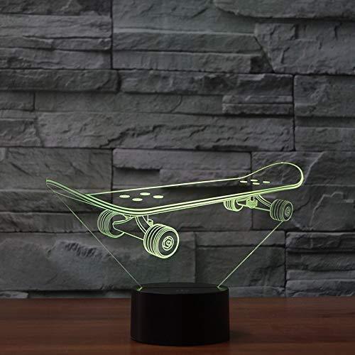 Acryl Nacht Licht Skateboard Vorm Children's Slaapkamer Tafellamp Creatieve Gift Customization