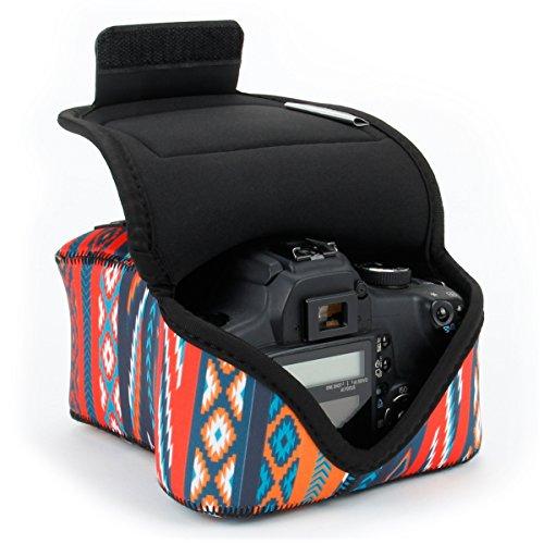USA GEAR SLR Funda para Cámara (Azteca) con Protección de Neopreno, Bolsa Cámara Reflex, Estuche Semipermeable para DSLR - Compatible con Nikon D3400, Canon EOS Rebel SL2, Pentax K-70 y Muchos Más