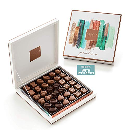 Melodi Assorted Belgian European Bulk Chocolate Candy Box Limited Edition - Boyfriend Presents for Women - Anniversary Suggestions for Him - Birthday Ideas for Friends Female, Teacher & Mom (36-Count)