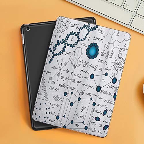 Funda iPad 10.2 Inch 2018/2019,Ciencia Abstracta Física Fórmulas de moléculas de ADN Análisis químicos atómicos Pantalla,Cubierta Trasera Delgada Smart Auto Wake/Sleep