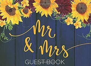Guest Book: Mr & Mrs Wedding Guest book — Rustic Navy Sunflower Burgundy Floral