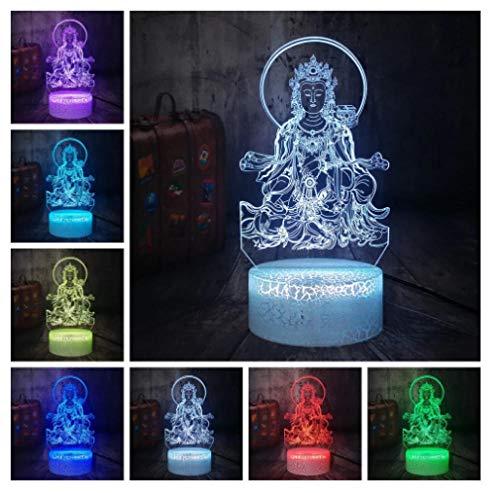 Luz nocturna para niños Lámpara 3D Ilusión Luz Nocturna LED con Cable USB y 7 funciones de cambio de color regalo de Navidad jóvenes, adultos, niñas Bodhisattva religioso-Touch+Remote