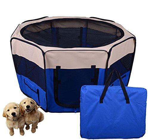 Box per animali - Recinzione per cuccioli - Cuccia , dimensioni: 125 x 125 x 58 cm, Colore : blu scuro