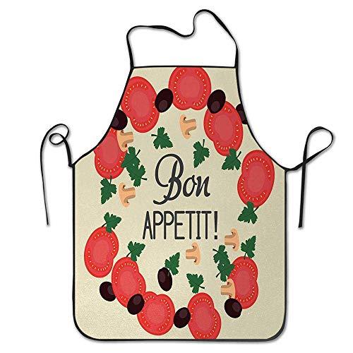 Not Applicable Ingrédients Motif Tranches de Tomates Champignons Olives et Persil Cuisine Thème Tablier Unisexe Cuisine Bavoir pour Cuisson Jardinage, Taille Adulte