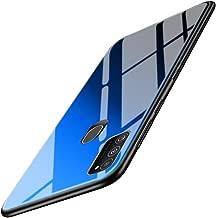 TheGiftKart Luxurious Glass Back Case Cover for Samsung Galaxy M21 / M30s | Soft Edge Protective TPU Bumper | Stunning Design (Blue-Black Glass)
