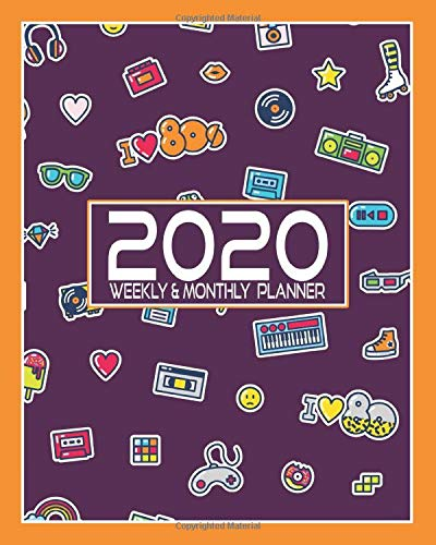 2020 Planner Weekly and Monthly: Purple 1980's Retro clip art design | 8