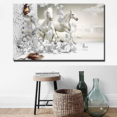 YuanMinglu Galoppierende Pferdewandkunstplakate und -drucke Weißes Pferd zerstörte Moderne Wandmalereien im Wohnzimmer rahmenloses Gemälde 50x75cm