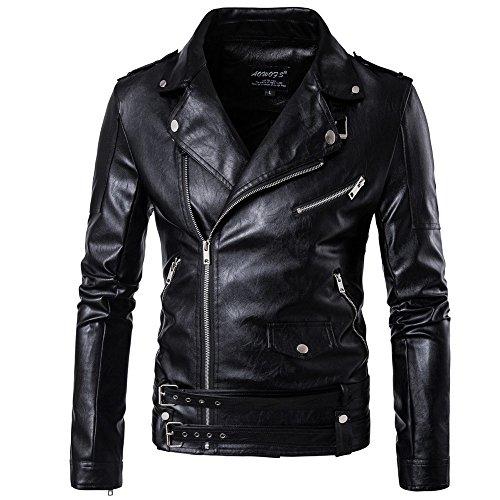 [eleitchtee] レザージャケット メンズ ライダースジャケット 防寒着 レザーコート 革ジャン PUコート カジュアルウェア ジップアップ ビジネス 大きいサイズ sx003-awfs-a1-16-d101(L ブラック)