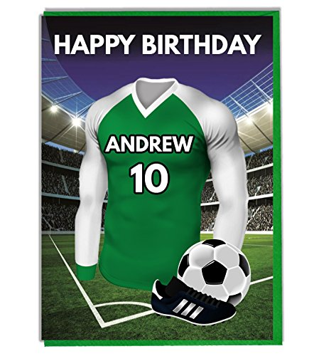 Personalised Football Themed Birthday Card for - Dad - Husband - Son - Daughter - Mum - Green and White Shirt Top