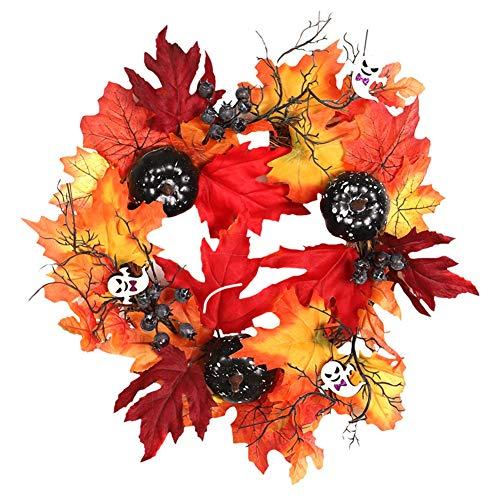iSpchen Künstlicher Girlanden-Ahornblatt-schwarzer Kürbis-Schädel des Halloween-Kranzes, Garland-Eingangstür für Hochzeitsfeier-Innen-Außendekoration