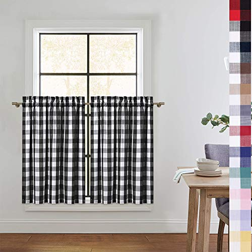 CAROMIO Buffalo Check Kitchen Curtains 36 Inches Length, Buffalo Plaid Gingham Tier Curtains for Kitchen Cafe Curtains Bathroom Window Curtain, Black/White