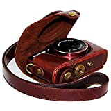 First2savvv XJPT-SX710-10 brun foncé PU cuir étui housse appareil photo numérique pour Canon PowerShot SX710 HS Sx700 HS