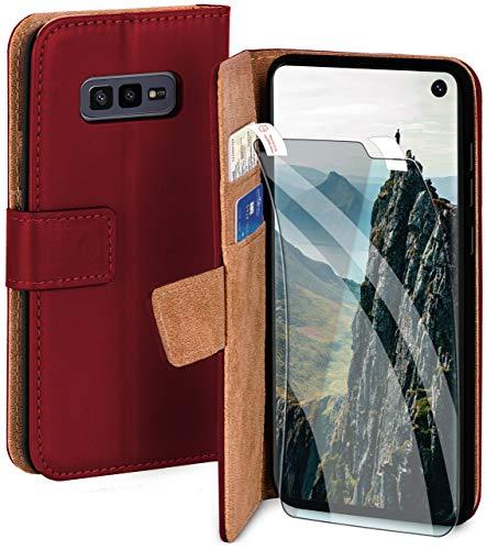 moex Handyhülle für Samsung Galaxy S10e - Hülle mit Kartenfach, Geldfach & Ständer, Klapphülle, PU Leder Book Hülle & Schutzfolie - Weinrot