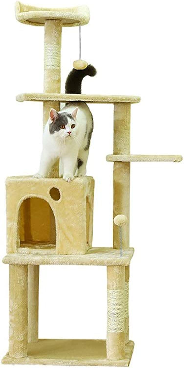 Cat Supplies Solid Wood Cat Litter Cat Tree Cat Climbing Frame One Multilayer Cat Toy Cat Jumping Platform, Two colors Optional JSSFQK (color   Beige)