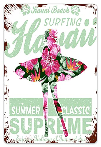 MIFSOIAVV Vendimia Cartel de Chapa metálica Summer Floral Hawaii girl surfing obra de arte impresión Placa Póster,Decoraciones de de Pared de Hierro Retro para Café Bar Pub Casa 20x30cm