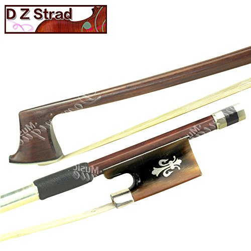 D Z Stradl Model 524 Full Size 4/4 Top Brazil Wood Violin Bow with Ox Horn Fleur de Lis Frog