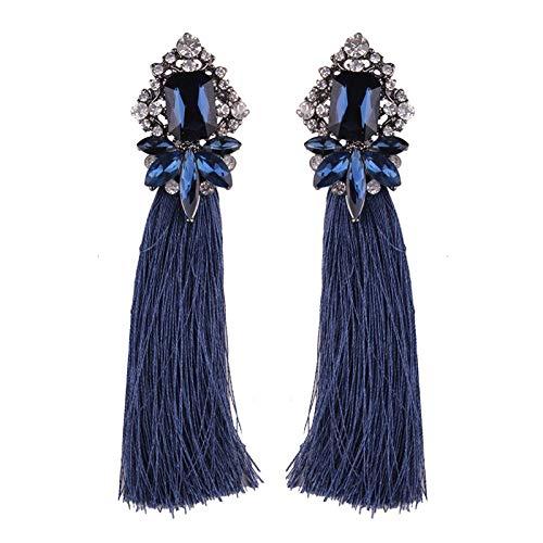 GGSDDU Women'S Long Tassel Earrings Rhinestone Dangle Earrings Fashion Ear Jewelry Bohemian Style Christmas Valentine'S Day Girl Gift,Navy Blue