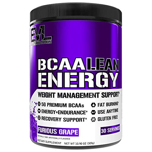 Evlution Nutrition BCAA Lean Energy - Energizing Amino Acid for Muscle Building Recovery and Endurance, with a Fat Burning Formula, 30 Servings (Furious Grape)