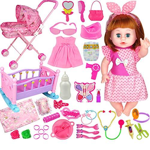 YUEBAOBEI Exquisite Deluxe Doll Set/Reden, Füttern, Pinkeln, Puppen, Spielzeug, Kleine Mädchen, Kinder, Spielhäuser, Simulationsbetten, Kinderwagen Mädchen Männer - Ideal Für Kinder 3, 4, 5 Und 6,Y