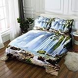 3 tlg. Bettbezug mit bettwäsche 135x200cm Drucken 2 Kissenbezügen 80 x 80 cm Wasserfall Hochwertiger Stoff Falten- und Verblassungsbeständig Atmungsaktive Baumwoll
