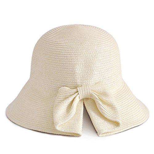 WYYY Chapeau Dame Chapeau De Soleil Pliable Fabriqué À La Main Côté Large Protection Contre Le Soleil (Couleur : Beige)